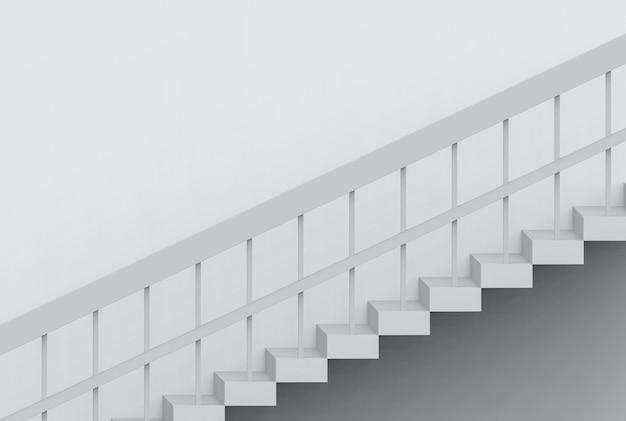 Perspectiefmening van moderne grijze cementtreden op muurachtergrond