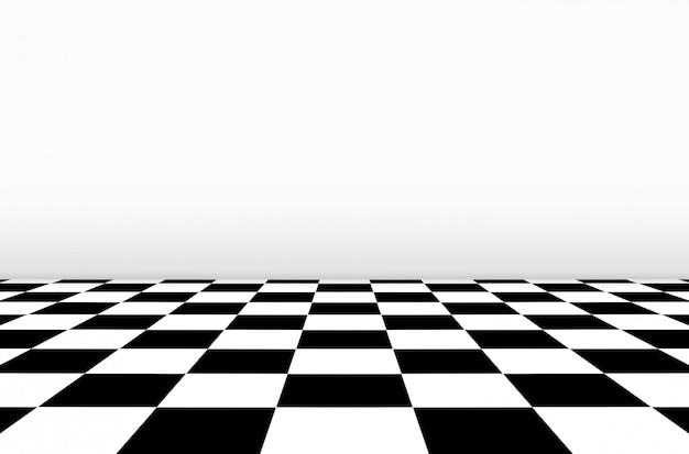 Perspectiefmening van schaakbordvloer met grijze muurachtergrond.