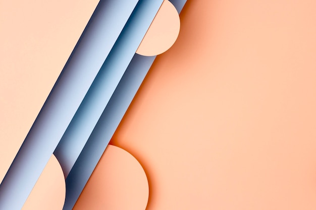 Perzik en blauwe papieren achtergrond