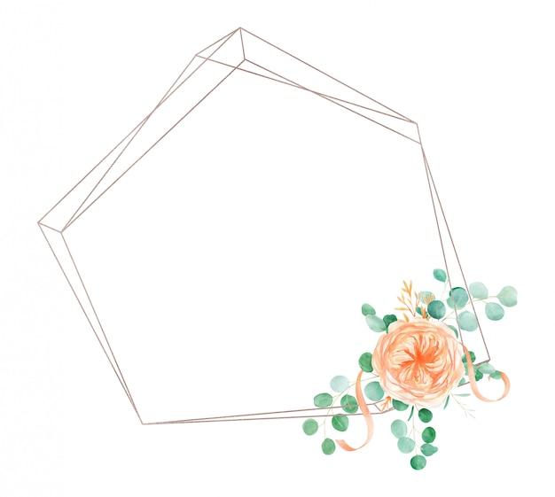 Perzik en oranje aquarel rose flower frame achtergrond met engelse rose austin en eucalyptus