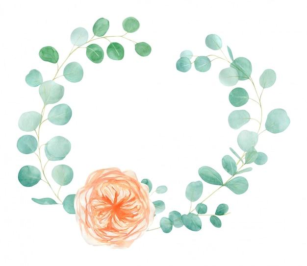 Perzik en oranje aquarel rose flower frame met engelse rose austin en eucalyptus