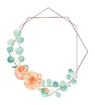 Perzik en oranje aquarel rose flower frame met engelse rose austin en eucalyptus.