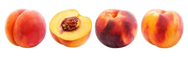 Perzik geïsoleerd op een witte achtergrond, verzameling van rijpe hele en gesneden perziken met uitknippad