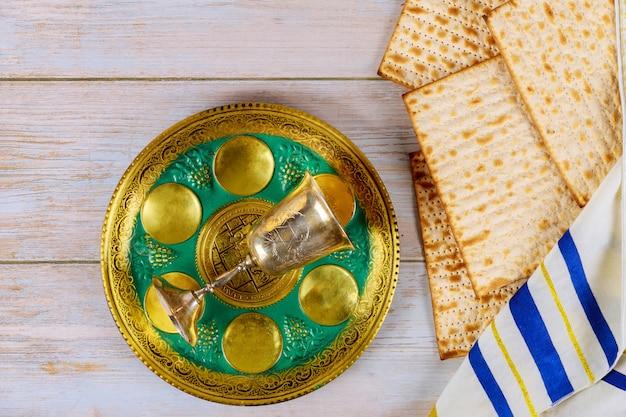 Pesach seder tafel traditionele joodse matzo