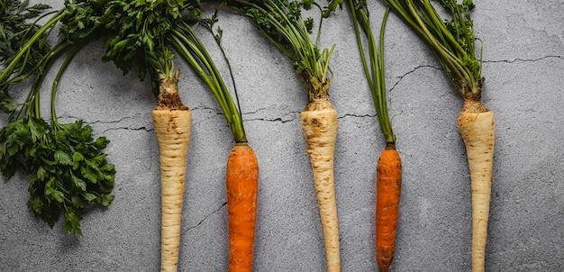 Peterselie wortels en wortelen bovenaanzicht