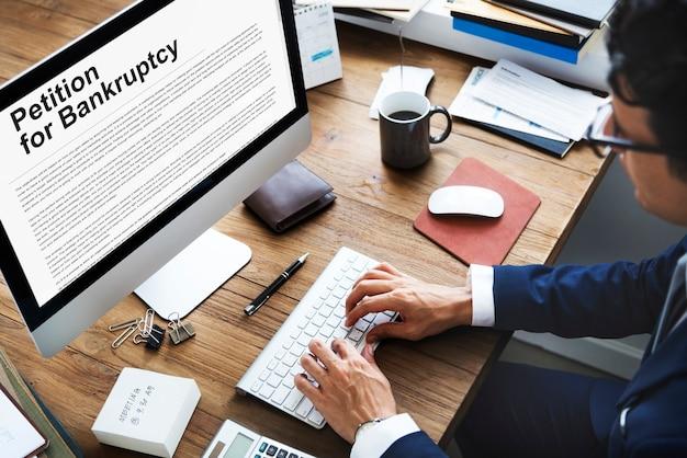 Petitie faillissement schuld lening overschreven problemen concept
