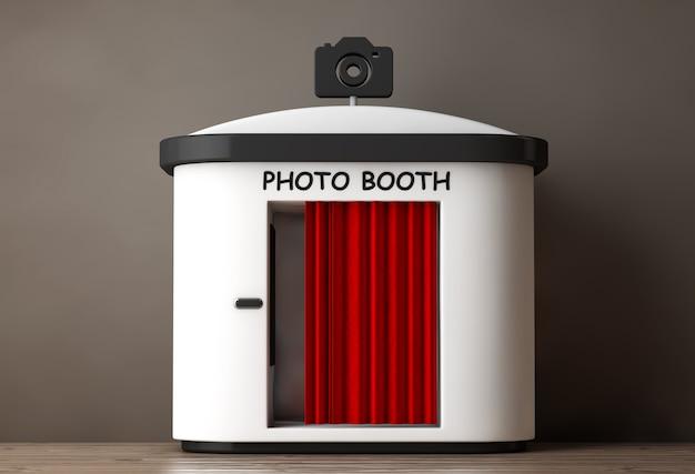 Photo booth met rood gordijn op een houten vloer. 3d-rendering