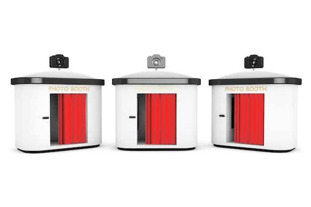 Photo booth met rood gordijn op een witte achtergrond