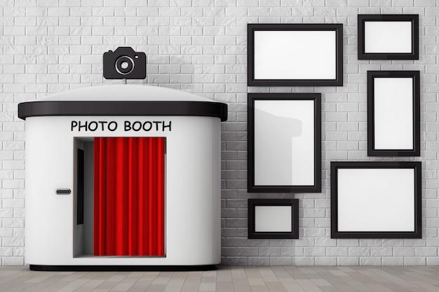 Photo booth voor bakstenen muur met lege fotolijsten extreme close-up. 3d-rendering