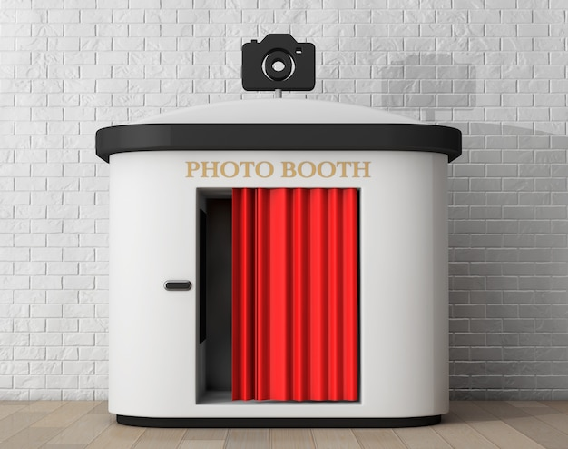 Photo booth voor bakstenen muur