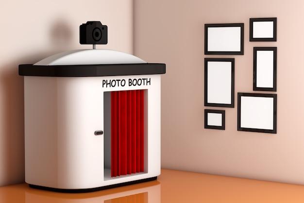 Photo booth voor muur met lege fotolijsten extreme close-up. 3d-rendering