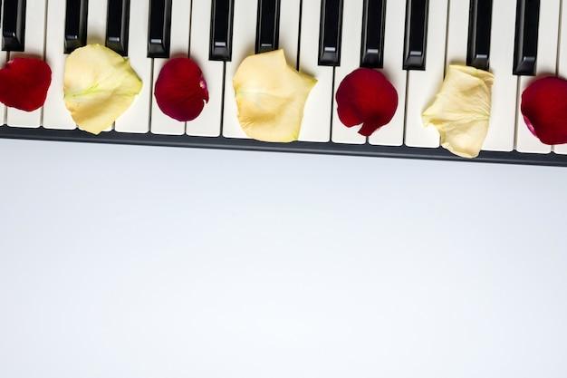 Pianosleutels met rode en witte roze bloembloemblaadjes, geïsoleerde, hoogste mening, exemplaarruimte.
