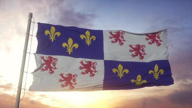Picardische vlag, frankrijk, zwaaiend in de wind, lucht en zon achtergrond. 3d-rendering