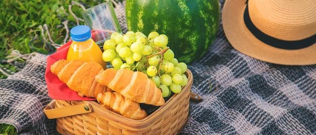 Picknick in de natuur fruit en watermeloen