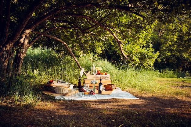 Picknick in het bos met wijn, fruit en stokbrood.