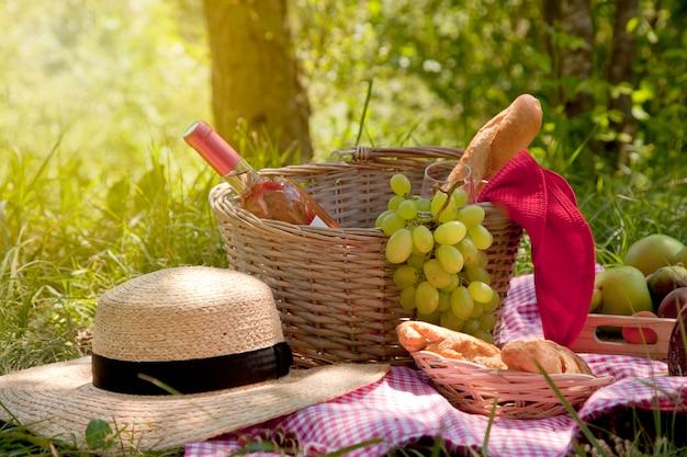 Picknick in het park op het gras: tafelkleed, mand, gezond eten, rose wijn en accessoires