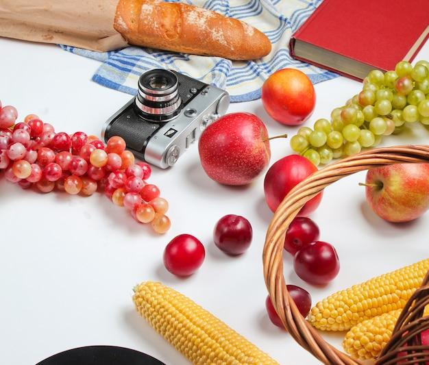 Picknick omgeving met camera, mand, fruit, stokbrood op witte achtergrond. retro-stijl afval.