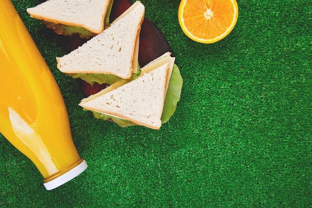 Picknick op het gras. rood gecontroleerd tafelkleed, mand, sandwich met gezond voedsel en fruit, sinaasappelsap. bovenaanzicht. zomertijd rust. plat liggen.