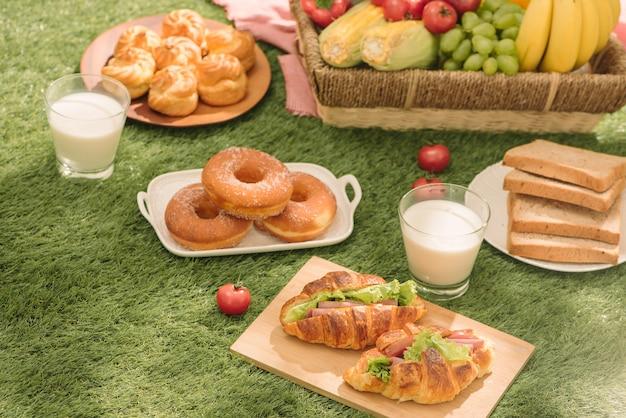 Picknick op het gras. rood geruit tafelkleed, mand, gezond voedselsandwich en fruit, sinaasappel, melk. zomertijd rust.