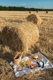 Picknick op het veld met hooiberg