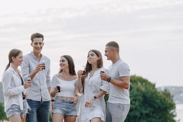 Picknick vrienden met pizza en drankjes, zonnige dag, zonsondergang, gezelschap, plezier, koppels en moeder met baby