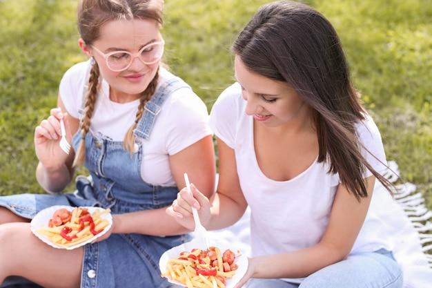 Picknick. vrouwen in het park