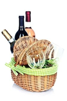 Picknickmand met wijn