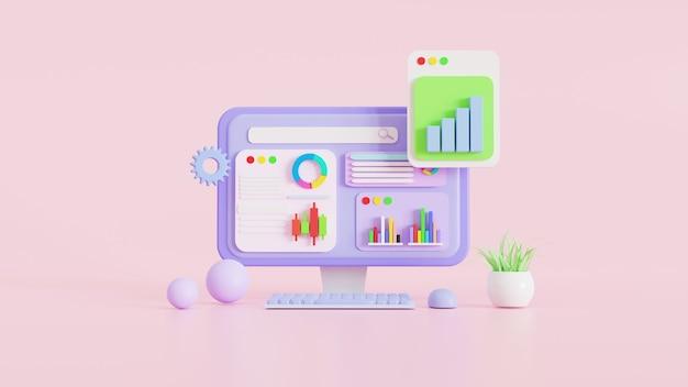 Pictogram, gegevensanalyse, grafiekendashboard, bitcoins digitale cryptocurrency en bedrijfsfinanciënrapport. investering of beurs website seo concept. 3d-illustraties.
