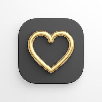Pictogram gouden hart contourlijn, zwarte vierkante knop. 3d-weergave.