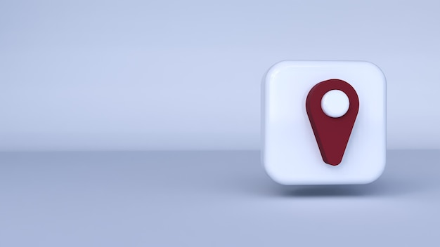 Pictogram rode pin met witte achtergrond. 3d-weergave