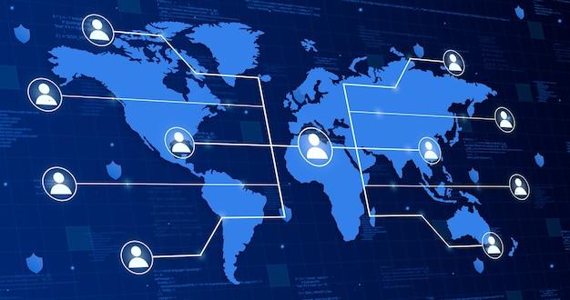 Pictogram van een gebruiker op wereldkaart die systeem verbindt met andere mensen op technische achtergrond 3d