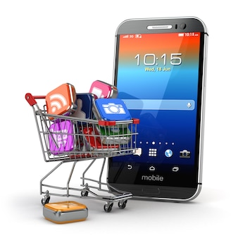 Pictogrammen van toepassingssoftware in winkelwagentje en smartphone