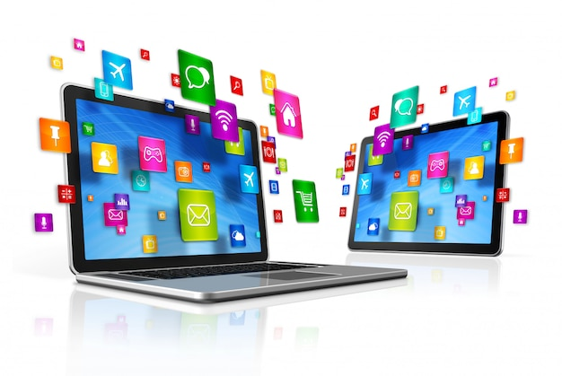 Pictogrammen vliegen rond digitale tablet-pc en laptop