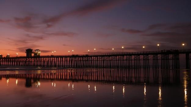 Pier silhouet oceaan californië usa oceaan tij tropisch strand zomer gloaming sfeer