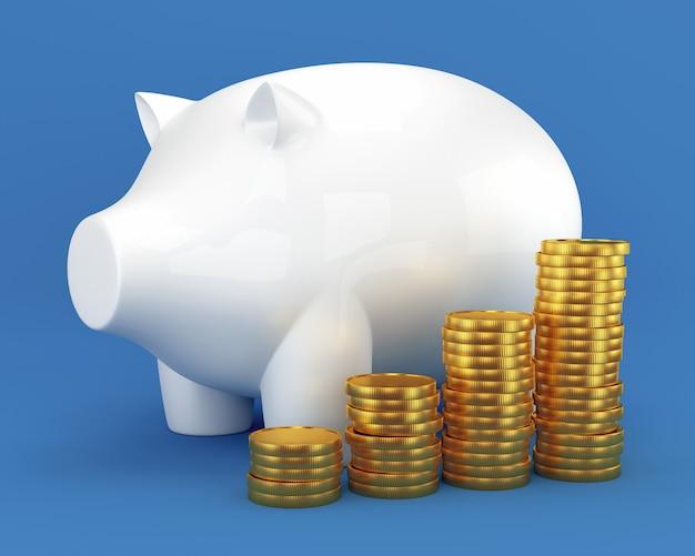Piggy bank en groep munten