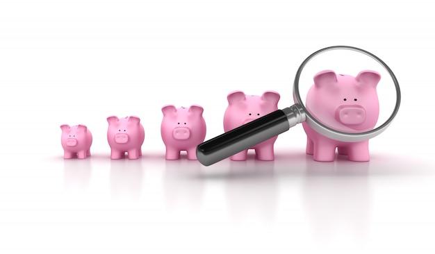 Piggy bank grafiek met vergrootglas