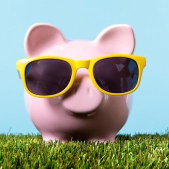 Piggy bank gras vrijheid rijkdom concept
