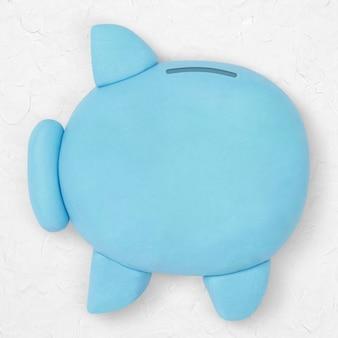 Piggy bank klei icoon schattig handgemaakte financiën creatieve ambachtelijke afbeelding