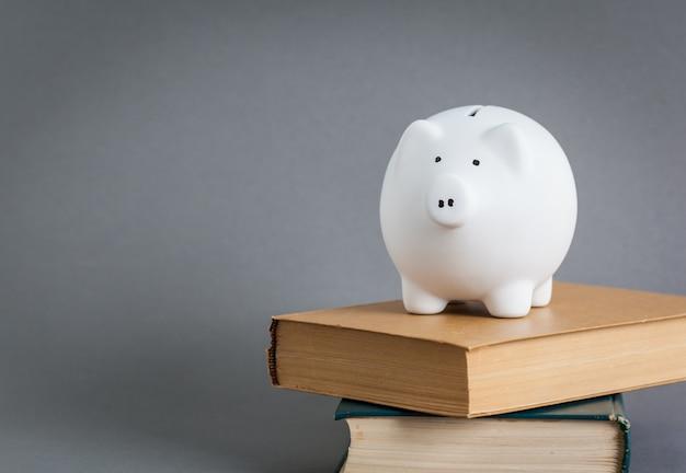Piggy bank op de top van boeken
