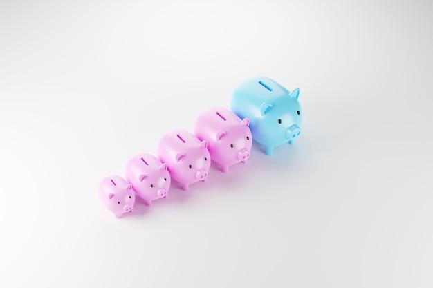 Piggy bank regelen groei grootte. bespaar geld en investeringsconcept. 3d illustratie