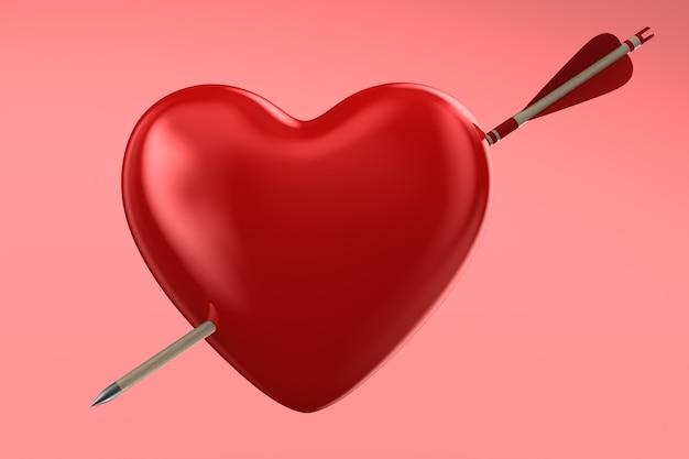 Pijl en hart op roze ruimte. geïsoleerde 3d-afbeelding