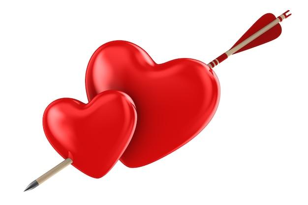 Pijl en hart op witte achtergrond. geïsoleerde 3d-afbeelding