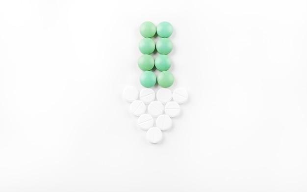 Pijl gemaakt met tabletten