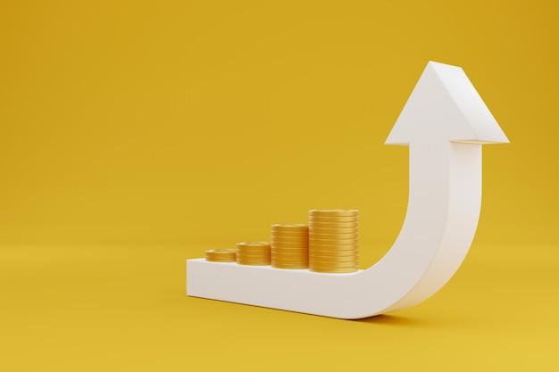 Pijl teken groei omhoog en gouden munten stapel op gele achtergrond. concept van geld besparen en groeiende investeringen. 3d illustratie