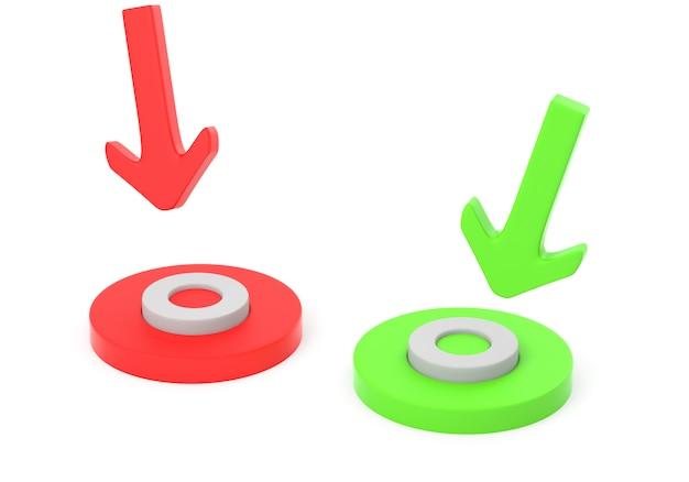 Pijlen gericht op de cirkels