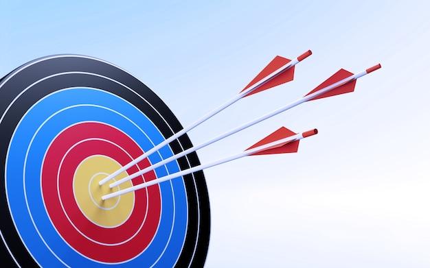 Pijlen raken doelring. 3d illustratie