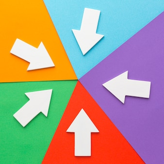 Pijlen wijzen in het midden