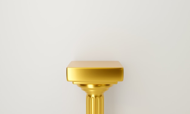 Pijler kolom op witte achtergrond. gouden sokkel tafel.