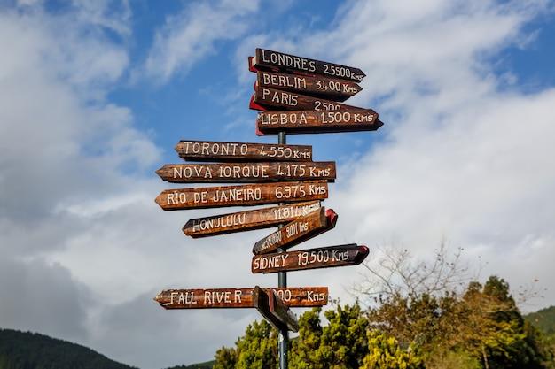 Pijler met richting naar verschillende hoofdsteden van de wereld. afstanden van de azoren, portugal