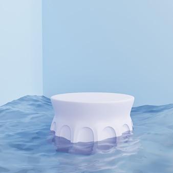 Pijlerpodium of voetstuk voor producten of reclame op blauwe achtergrond met overzeese golven, minimale 3d illustratie geeft terug